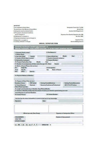 arrival and departure form