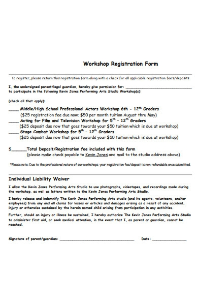 arts studio workshop registration form