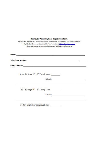 assembly race registration form