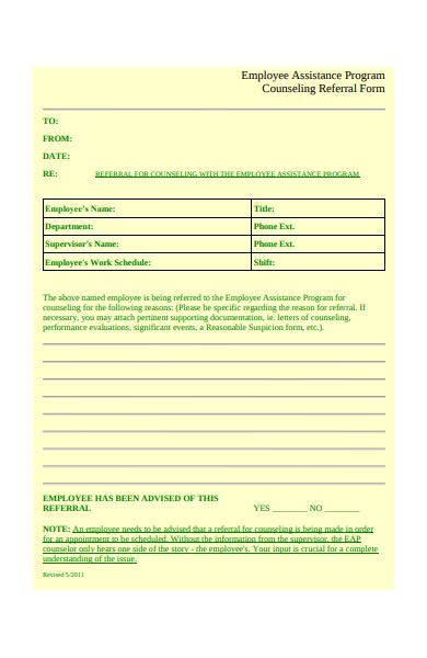 assistance program counseling referral form