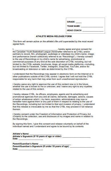 athlete media release form