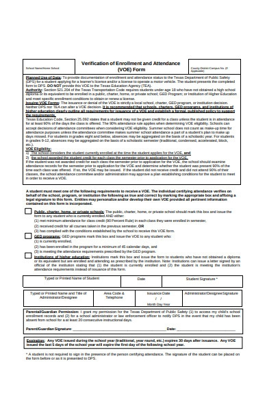 attendance enrolment verification form