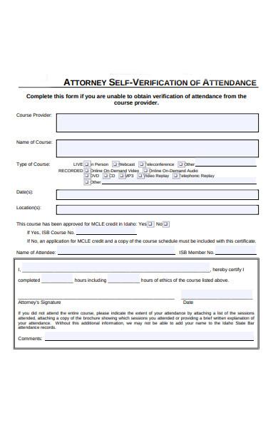 attendance self verification form