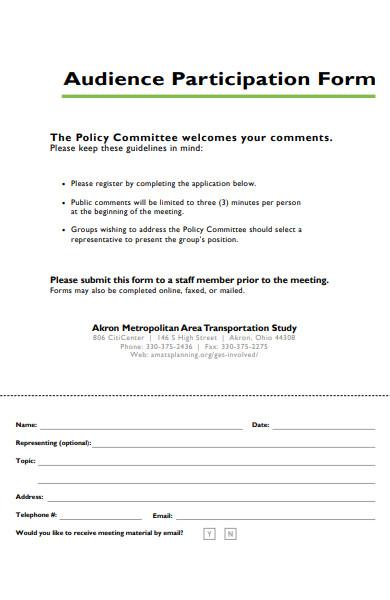 audience participation form