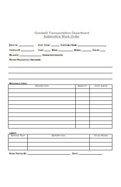 automotive repair work order form