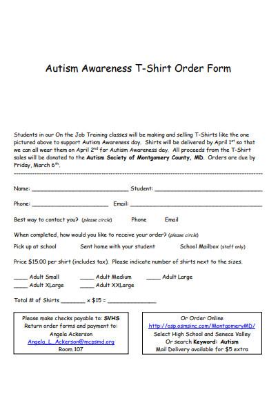 awareness t shirt order form