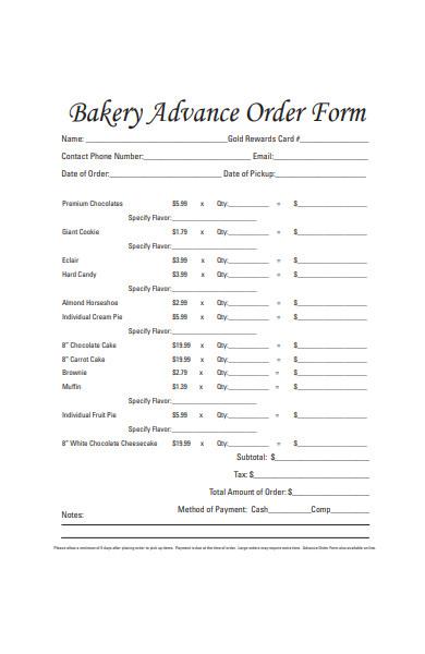 bakery advance order form