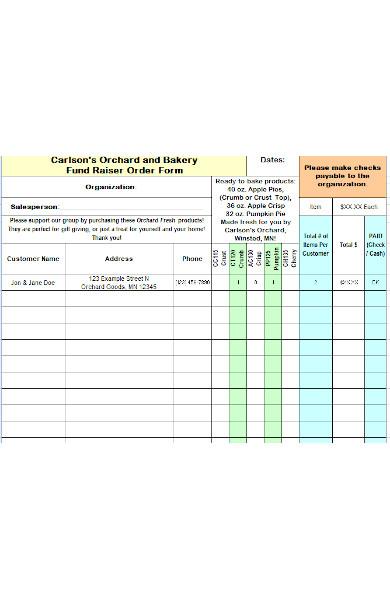 bakery fund raiser order form