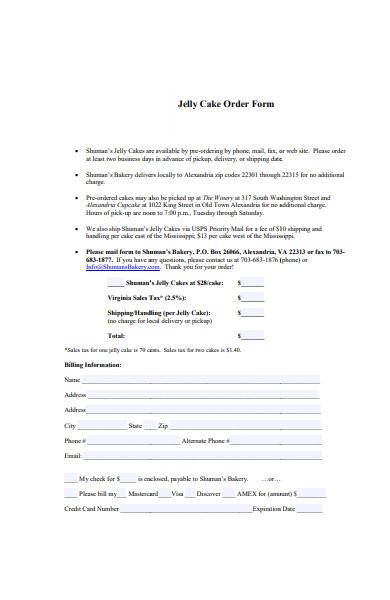 bakery jelly cake order form