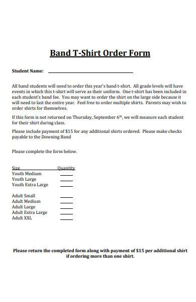 band t shirt order form