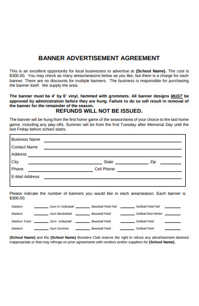 banner advertising agreement form