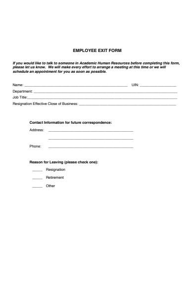 basic employee resignation form
