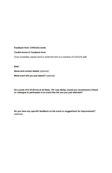 basic event feedback form in pdf