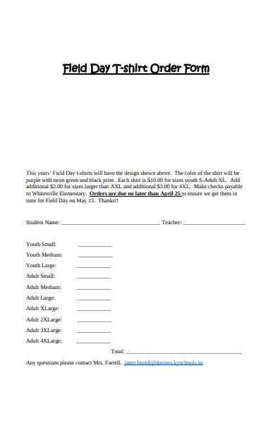 basic field day t shirt order form