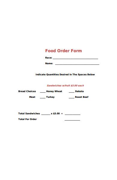 basic food order form