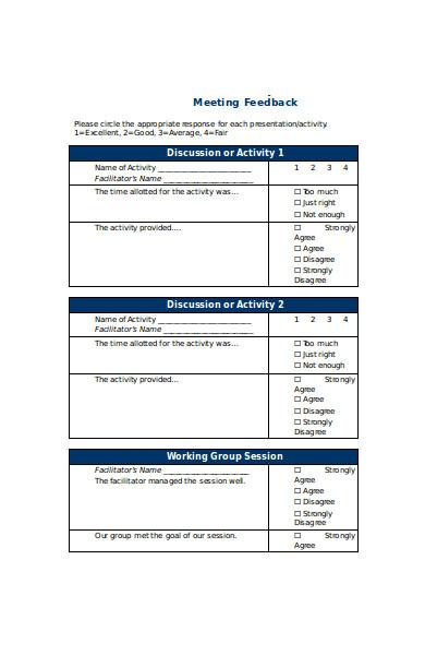 basic meeting feedback form