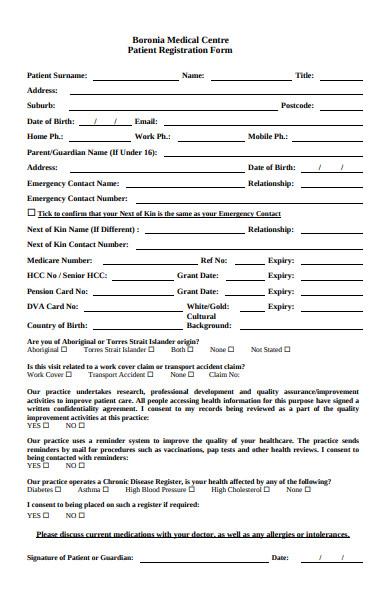 basic patient registration form