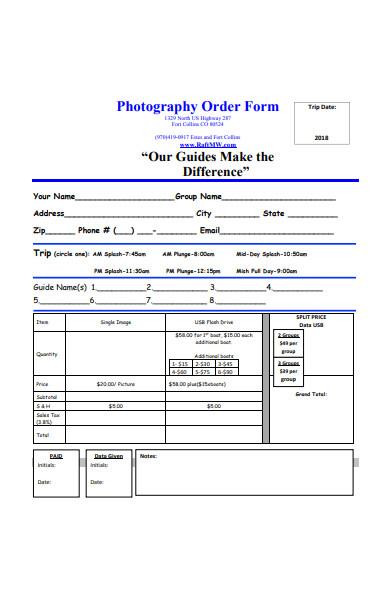 basic photography order form