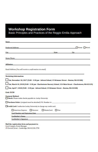 basic principals workshop registration form