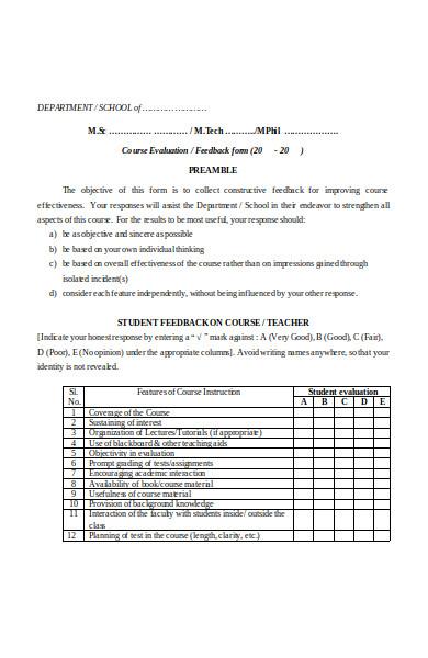basic student feedback form