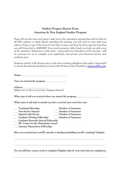 basic student progress report form