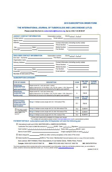 basic subscriber order form