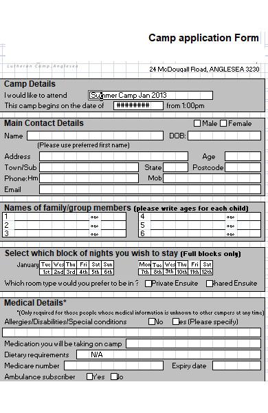 basic summer camp application form1