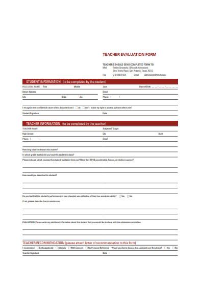 basic teacher evaluation form
