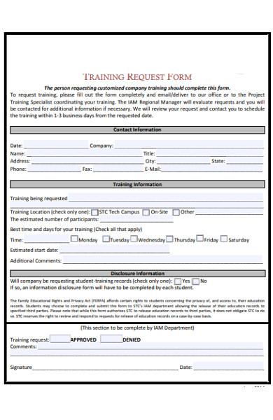 basic training request form