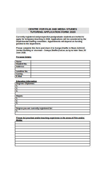 basic tutor application form