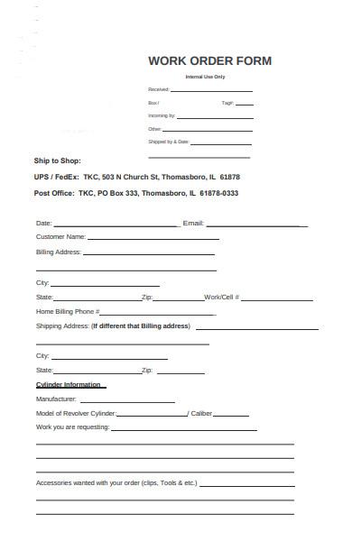 basic work order form