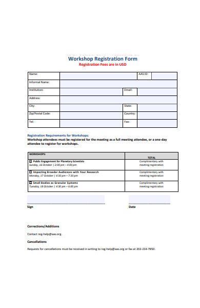 basic workshop registration form