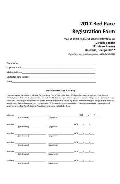 bed race registration form