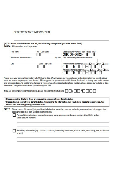 benefits letter inquiry form