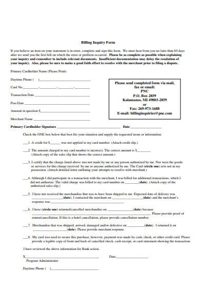 billing inquiry form