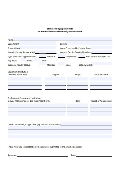 biographical data promotion form