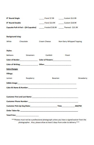 blank bakery order form