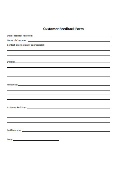 blank customer feedback form