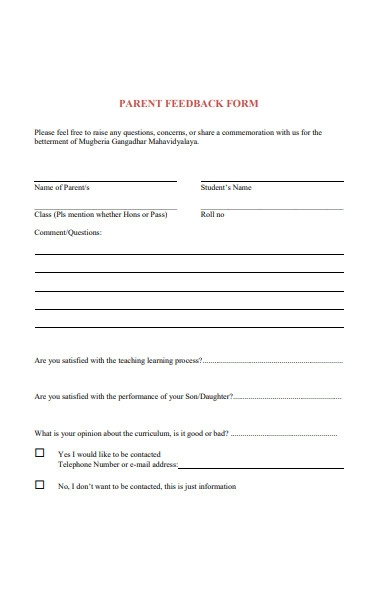 blank parent feedback form in pdf