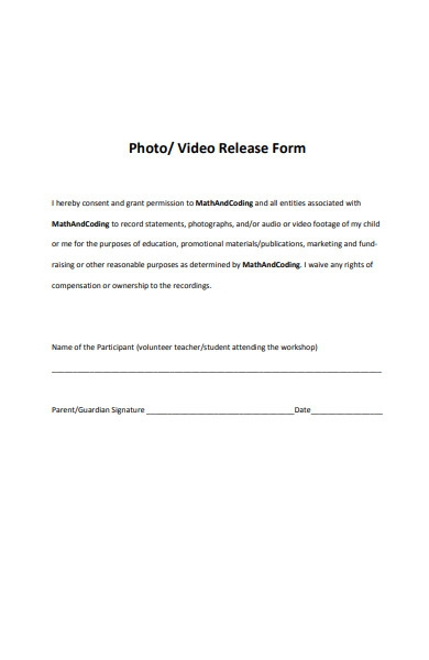 blank photo and video release form