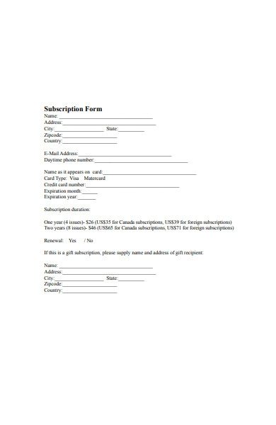 blank subscription form template