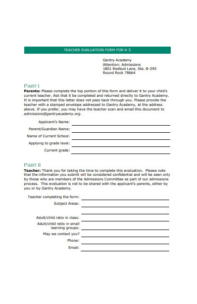 blank teacher evaluation form
