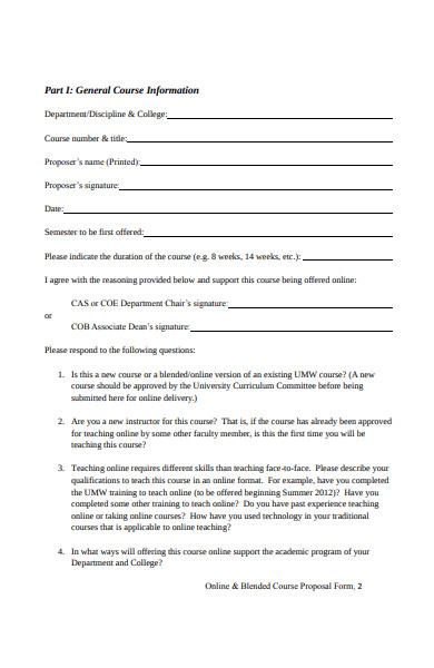 blended course proposal form