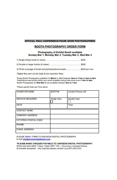 booth photograph order form format