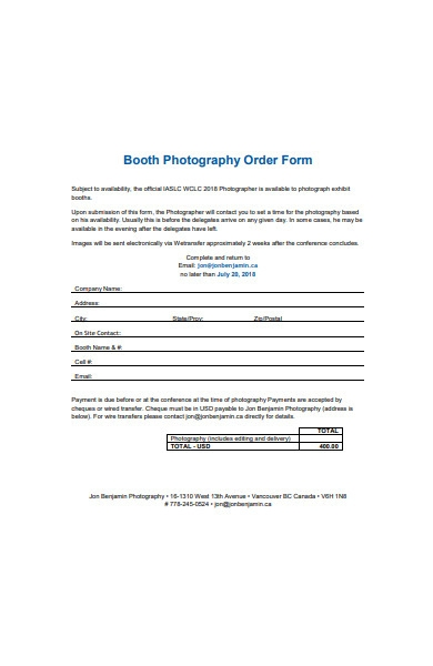 booth photography order form sample