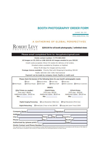 booth photography order form