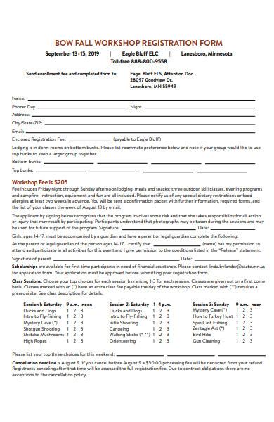 bow fall workshop registration forms