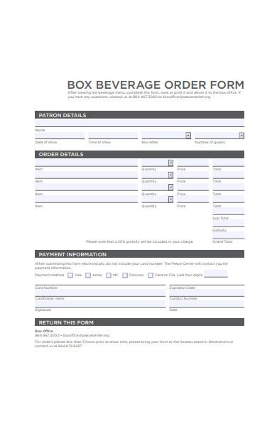 box beverage order form