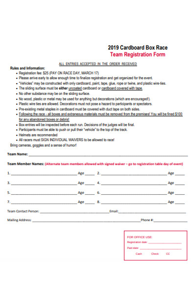 box race registration form