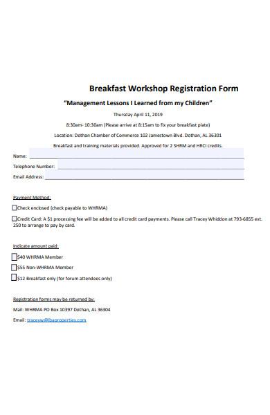 breakfast workshop registration forms